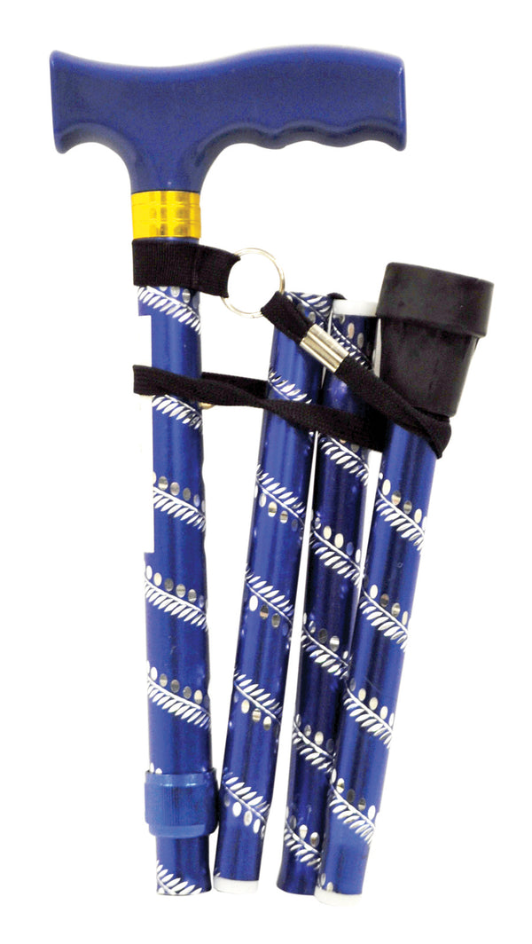 Cobolt (Blue) etched walking stick with blue handle and black ferrule - folded