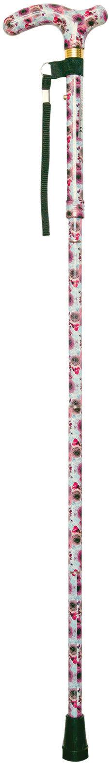 Rose patterned adjustable walking stick with patterned handle, black ferrule and loop