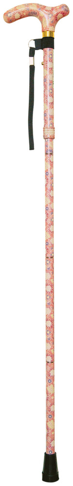 Printemps patterned, peach adjustable walking stick