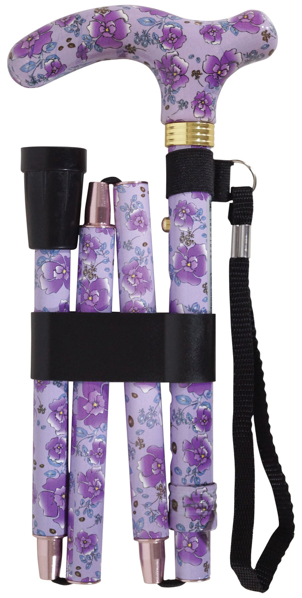 Purple Blossom walking stick with patterned handle, black ferrule and loop, folded