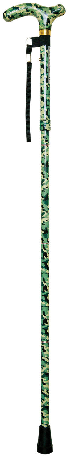 Camouflage walking stick with black ferrule and loop