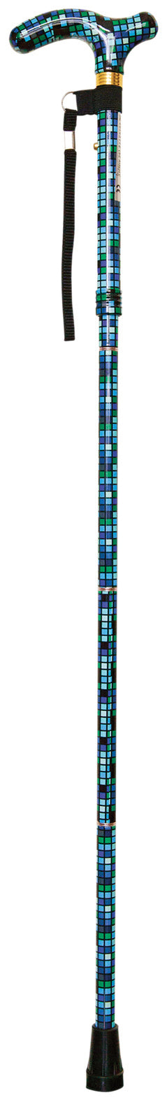 Tile walking stick with patterned handle, black ferrule and loop