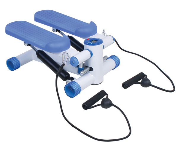 Blue and White Pedal Exerciser with black handles on a white background