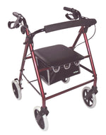 Red framed rollator with black bag and handles