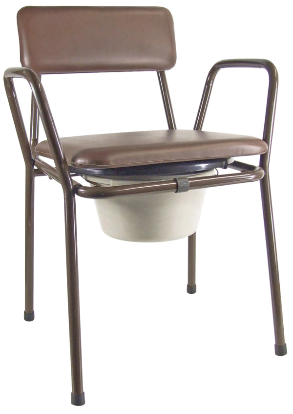 brown framed commode with padded lid and back on a white background