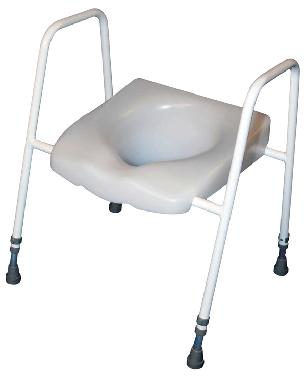 White raised toilet seat with white tubular frame and grey ferrule-style feet