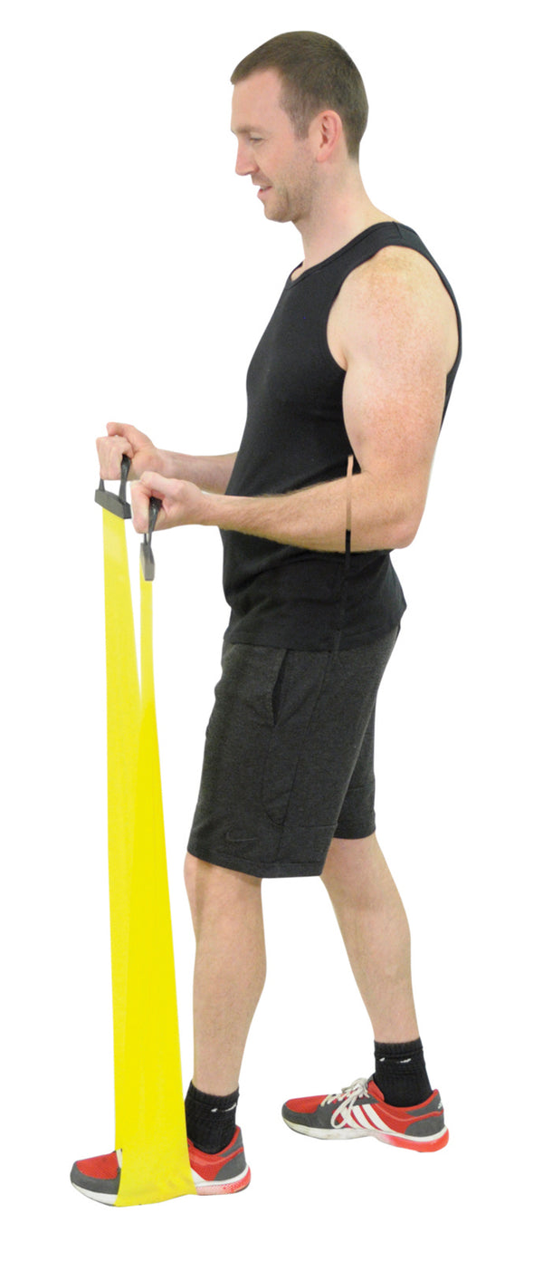 Man using yellow exercise band (standing)