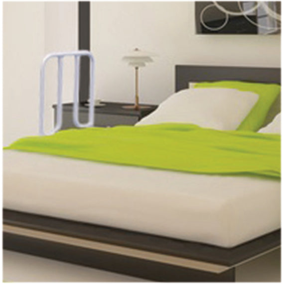 Double bed with lime green cover and the solo bed transfer on one side