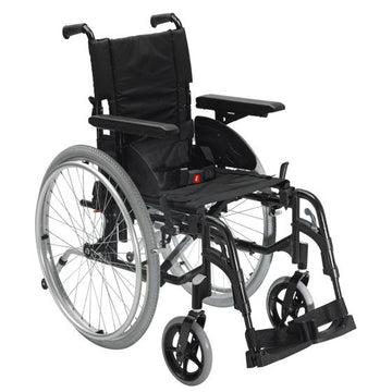 "Invacare Action2 NG Self-propelled Wheelchair (Anthracite Black) 430mm/17"" Folding Back - 24"" Wheel"
