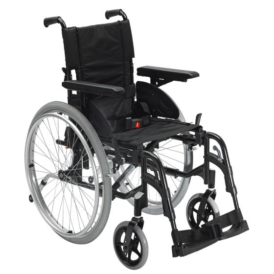 Black self-propelled wheelchair with black seat and footres 430mm/17inch folding back