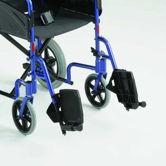 Close up of footrests on a blue framed wheelchair, folded inwards