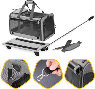 CatPrestige™ Cat Trolley Bag Rolling Carrier