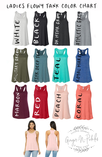 Ladies Flowy Racerback Tank With Gathered Back (With Any Design From Our Store--You Pick The Design)