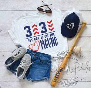 3 Up 3 Down My Boy Is On The Mound Baseball Pitcher Shirt, Baseball Mom Shirt, Baseball Dad Shirt, Number One Fan Baseball Shirts