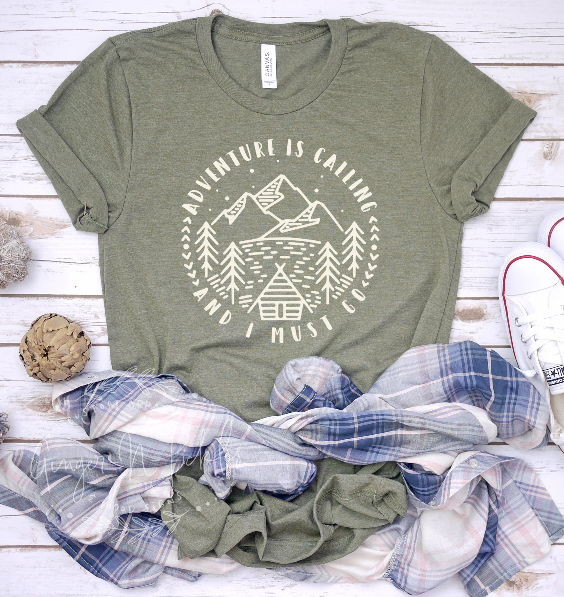 Adventure Is Calling and I Must Go Short Sleeve Shirt, Adventure with Mountain Range Shirt, Hiking Shirt