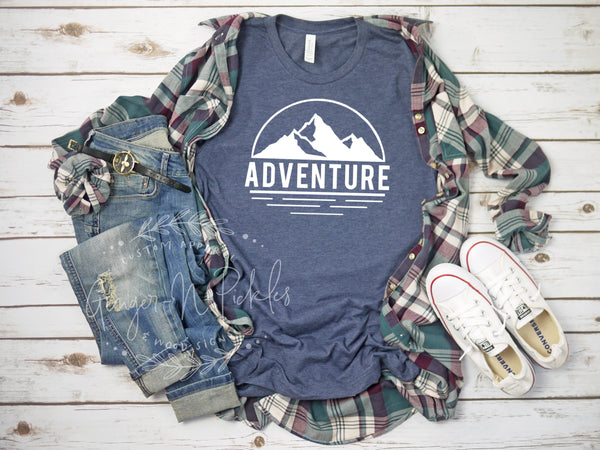 Adventure Short Sleeve Shirt, Adventure with Mountain Range Shirt, Hiking Shirt, Get Lost Shirt