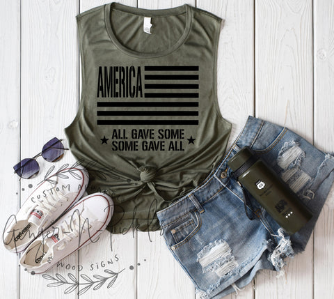 America All Gave Some Some Gave All Shirt, Patriotic Memorial Day 4th of July Shirt Army Green Military Style American Flag USA Tank Top