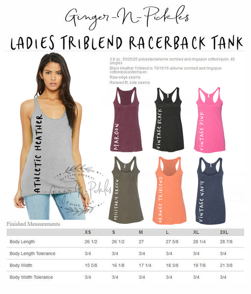 Ladies Triblend Racerback Tank With Raw Edges (With Any Design From Our Store--You Pick The Design)