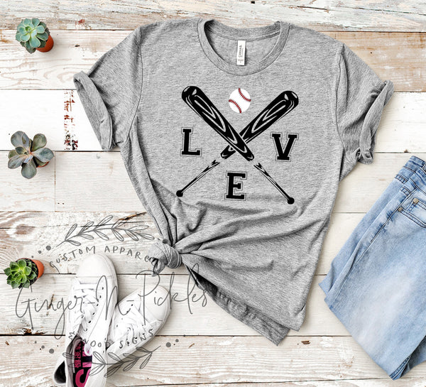 Love Baseball Shirt, Crossed Baseball Bats Shirt, Baseball Boyfriend Style Comfy T-Shirt, Play Ball Baseball Love Shirt, Baseball Mom Shirt