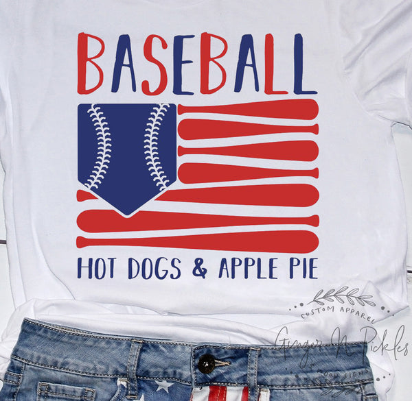 Baseball Hot Dogs and Apple Pie American Flag Shirt Baseball Flag Shirt American Favorites Shirt Baseball Shirt Patriotic 4th of July Shirt