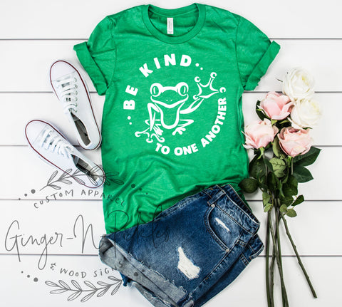 Be Kind To One Another Shirt, Be Kind With Frog Waving Short Sleeve Shirt, Happy Frog Graphic Tee