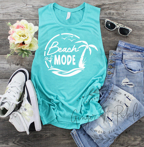 Beach Mode Muscle Tank, Beach Summer Vacation Tank Swimsuit Coverup, Beach Please Vacation Shirt