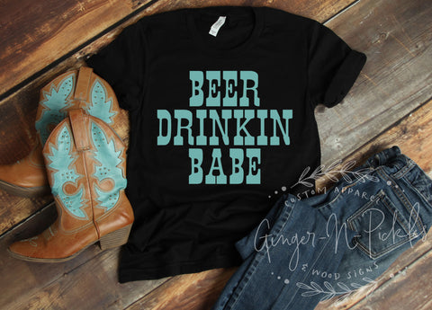 Beer Drinkin Babe Short Sleeve Shirt, Beer Drinkers Graphic T-Shirt, Funny Beer Lover Shirt