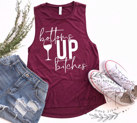 Bottoms Up Bitches Muscle Tank Bottoms Up Shirt Wine Lover Gift Wine Friends Shirt Wine Tasting Event Friends Funny Wine Drinkers Shirt