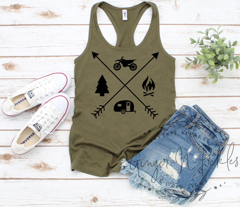 Ladies Dirt Bike Camping Racerback Tank Top or Scoopneck Shirt or V-Neck Shirt Offroad Racing Dirt Bike Mom Moto Camping Family Shirt