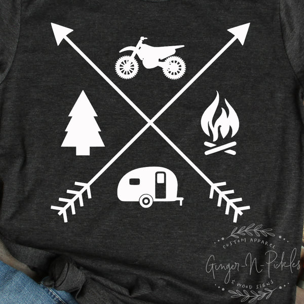Dirt Bike Camping Short Sleeve T-Shirt, Dirt Bike Camp Shirt, Offroad Riding Dirt Track Racing Moto Family Camping Shirt