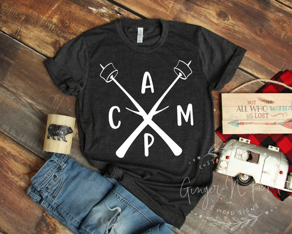 Crossed Marshmallow Sticks Camping Shirt, Short Sleeve Happy Camper Shirt, Funny Camping Shirt Wanderlust Tee