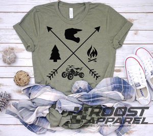 ATV Quad Camping Crossed Arrows Short Sleeve T-Shirt, Quad Camp Shirt, Offroad Glamis Dunes Quad Camping Family Shirt