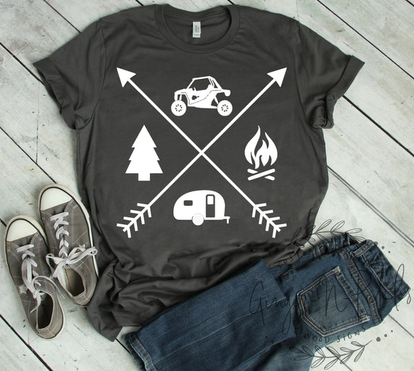 UTV Camping Short Sleeve or Long Sleeve T-Shirt Side By Side SxS Shirt Offroad Riding Shirt UTV Shirt Moto Family Shirt Glamis Camping Shirt