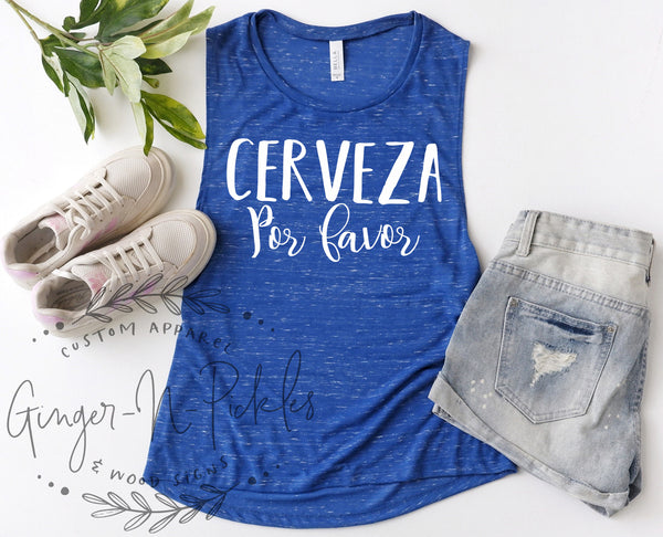 Cerveza Por Favor Muscle Tank, Cerveza Por Favor Shirt Beer Drinkers Shirt Girls Trip Day Drinking Shirt Beer Shirt Bachelorette Party Shirt