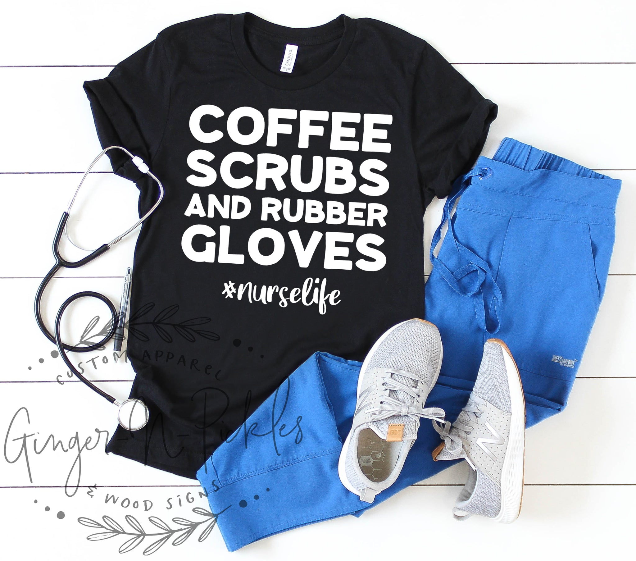 Coffee Scrubs and Rubber Gloves #nurselife Unisex Style Short Sleeve Shirt, Coffee Scrubs Rubber Gloves Shirt Nurselife Shirt