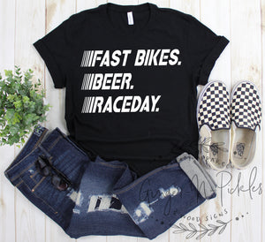 Fast Bikes Beer RaceDay Shirt, Race Fan Shirt, Race Day Shirt, Dirt Bikes and BMX Race Fan Shirt, Dirt Bikes Beer Racing Shirt
