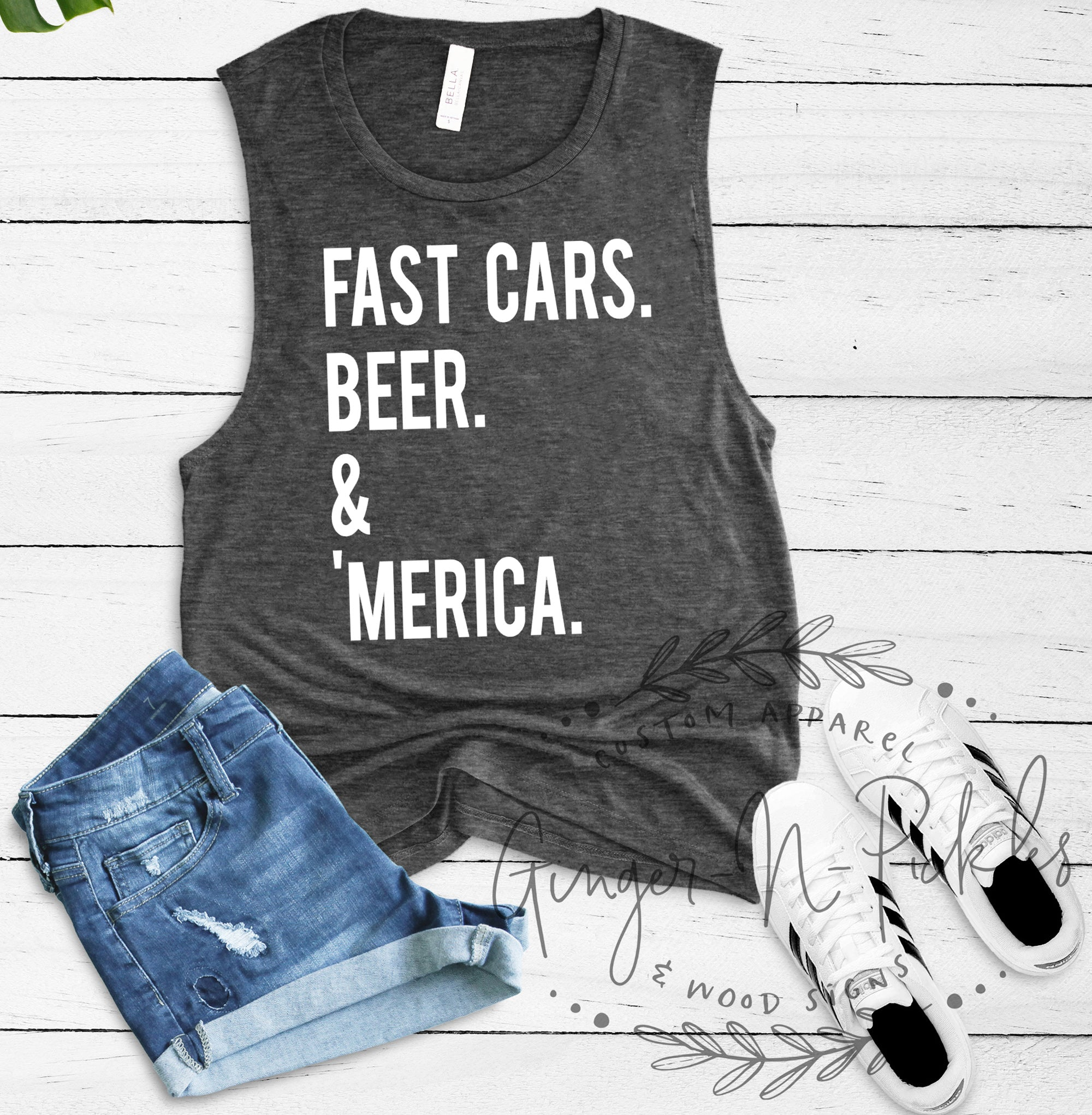 Fast Cars Beer & Merica Muscle Tank for Women Stock Car Race Fan Shirt Fast Cars Shirt Race Day Shirt Dirt Race Track Shirt Racing Fan Shirt