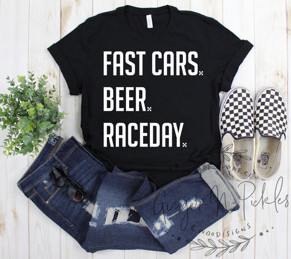 Fast Cars Beer RaceDay Shirt, Race Fan Shirt, Race Day Fast Cars Shirt, Stock Car Race Fan Shirt, Cars Beer Racing Shirt, Sprint Car Racing