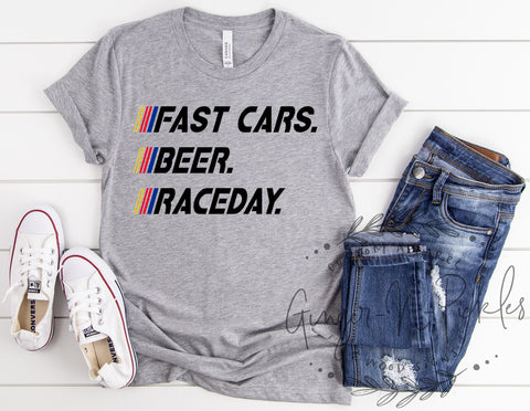 Fast Cars Beer RaceDay Shirt, Race Fan Shirt, Race Day Shirt, Fast Cars Shirt, Stock Car Race Fan Shirt, Cars Beer Racing Shirt