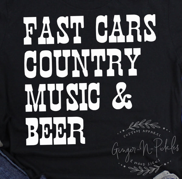 Fast Cars Country Music and Beer Race Day Shirt, Race Fan Short Sleeve T-Shirt, Country Music and Stock Car Race Fan Shirt
