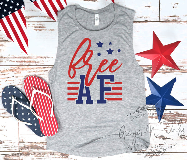 Free AF Muscle Tank, Patriotic 4th of July Tank Top Funny 4th of July Free AF Shirt Patriotic AF Tank Top July 4th Drinking Shirt