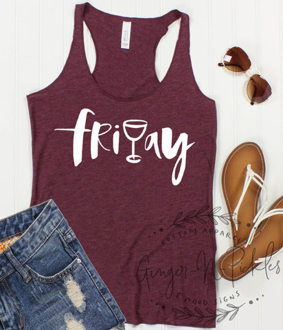 Funny Friyay Ladies Triblend Racerback Tank With Raw Edges, Wine Lovers Tank Top, Happy Friday Shirt, It's Friyay Y'All Shirt