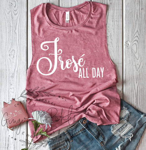 Frose All Day Muscle Tank, Wine Drinkers Tank Top Frose Wine Shirt Girls Night Out Shirt Drinking Tank Top Wine Lovers Shirt Wine Lover Gift