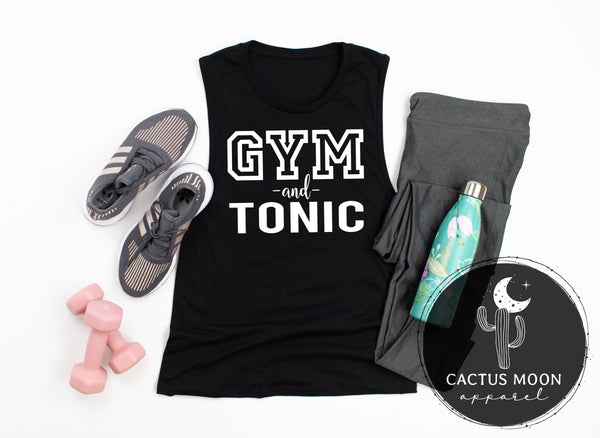Ladies Gym and Tonic Muscle Tank, Funny Gym and Wrokout Ladies Muscle Tank for Gin and Tonic Lovers