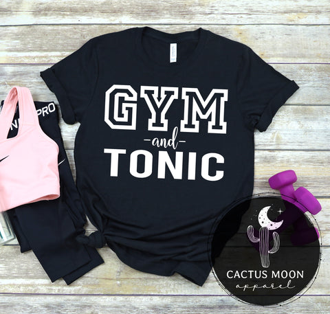 Gym and Tonic Adult Unisex Short Sleeve Shirt, Funny Gym and Workout Unisex Style Shirt for Gin and Tonic Lovers