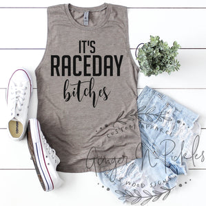 It's RaceDay Bitches Ladies Muscle Tank for Stock Car Dirt Bike Motocross Supercross Dirt Track Sprint Car UTV Race Fans Race Day Shirt