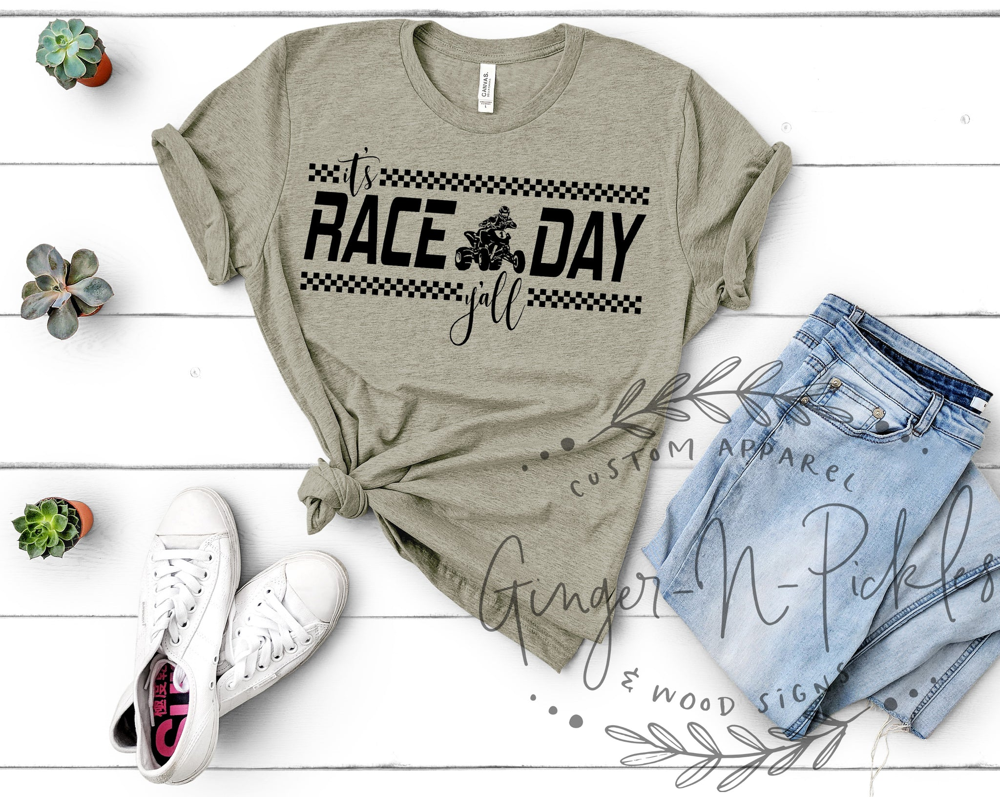 It's Race Day Y'All Quad Racer Short Sleeve or Long Sleeve Shirt, Quad Racing Shirt, Unisex Offroad Racing Shirt, Dirt Track Racing Shirt