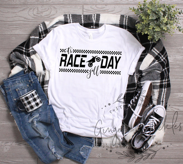 It's Race Day Y'all Shirt Moto Mom Short Sleeve Dirt Bike Racing Shirt Dirt Bike Mom Offroad Racing Dirt Track Racing Race Mom Shirt