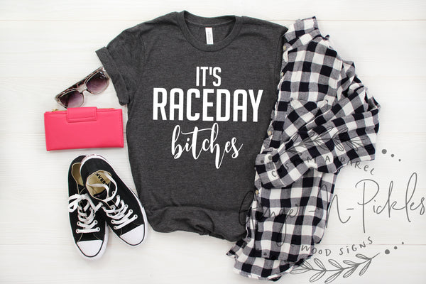 It's RaceDay Bitches Shirt, Short or Long Sleeve Tee for Stock Car Dirt Bike Motocross Supercross Dirt Track Sprint Car Drag UTV Race Fan