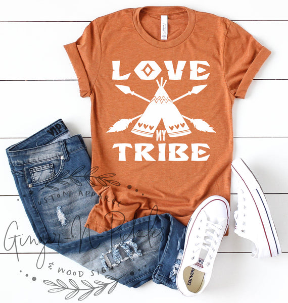 Love My Tribe Short Sleeve Shirt, Cute Inspirational Bojo TeePee and Crossed Arrows Shirt